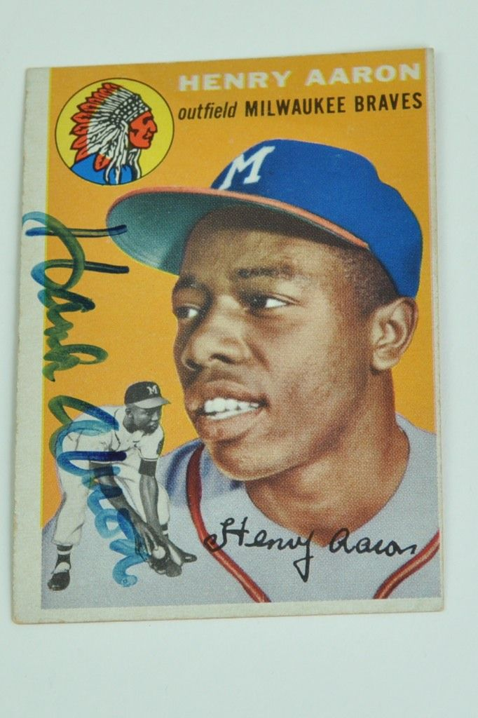 Lot Detail Hank Aaron Autographed 1954 Topps Rookie Card