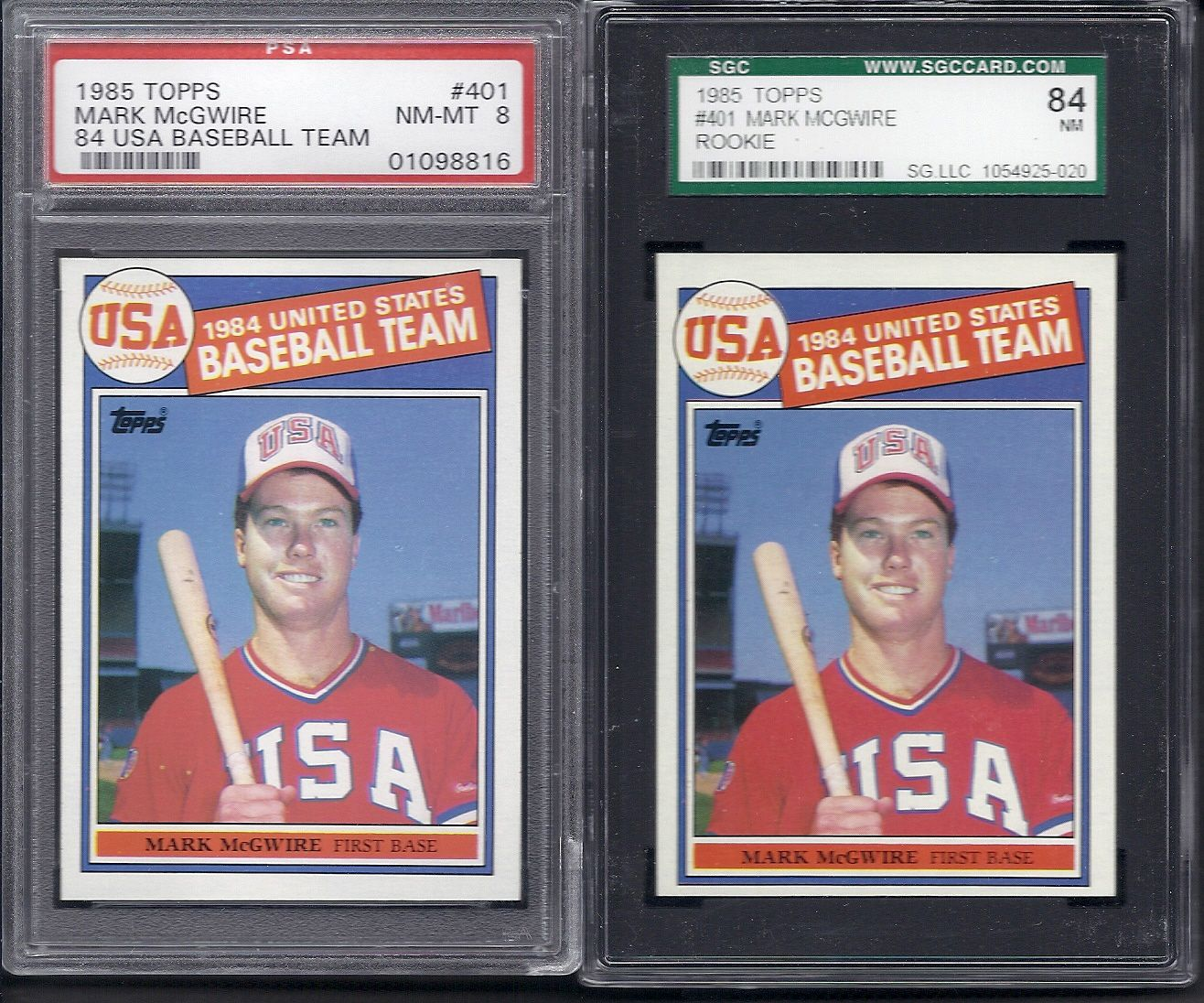 Lot Detail Mark Mcgwire Lot Of 2 Graded 1985 Topps Rookie Cards