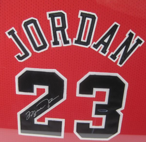 lot detail michael jordan autographed upper deck authenticated jersey display. Black Bedroom Furniture Sets. Home Design Ideas