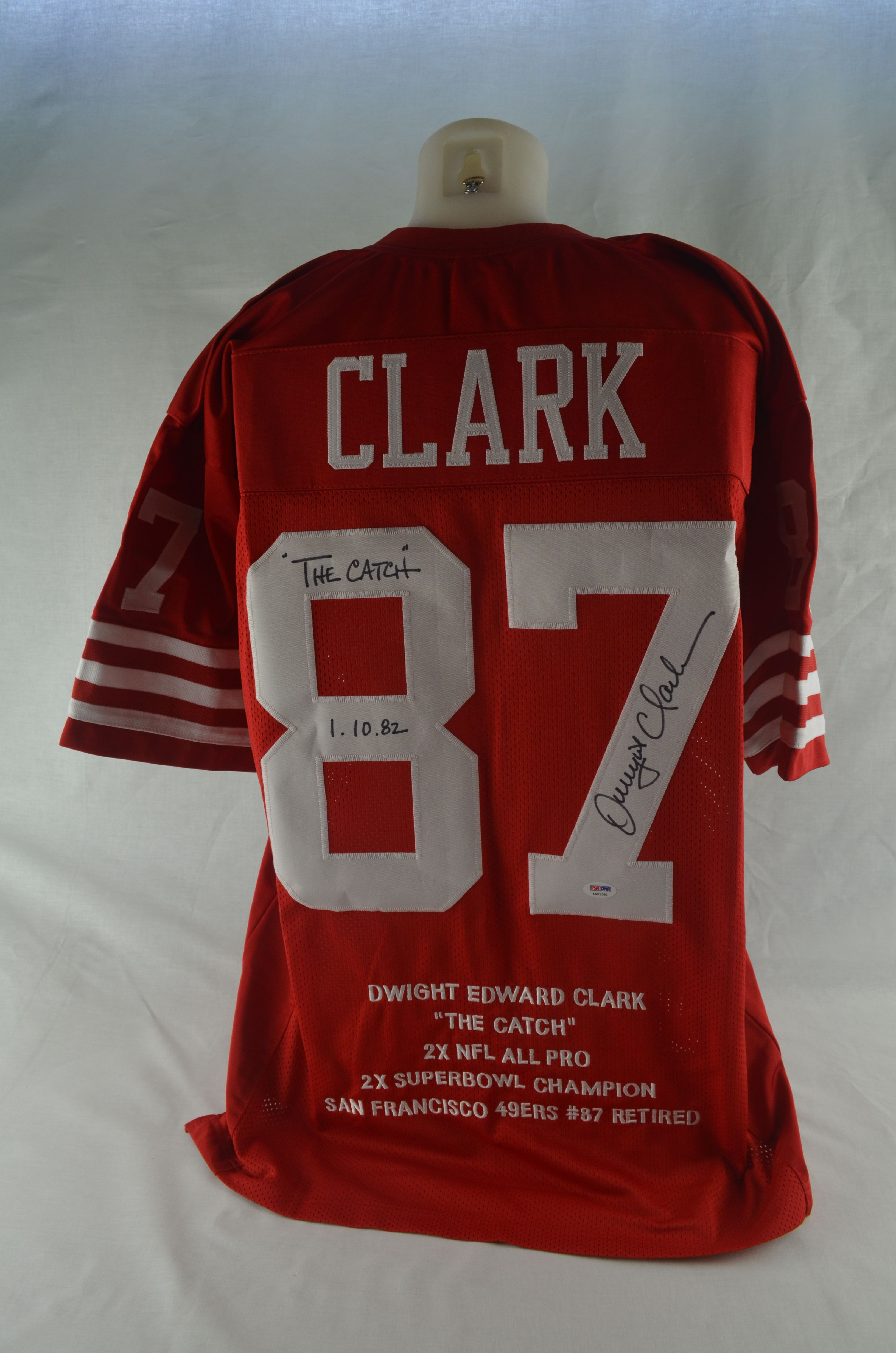 25375217b82 Dwight Clark San Francisco 49 ers Autographed   Multi Inscribed Stat Jersey  ...