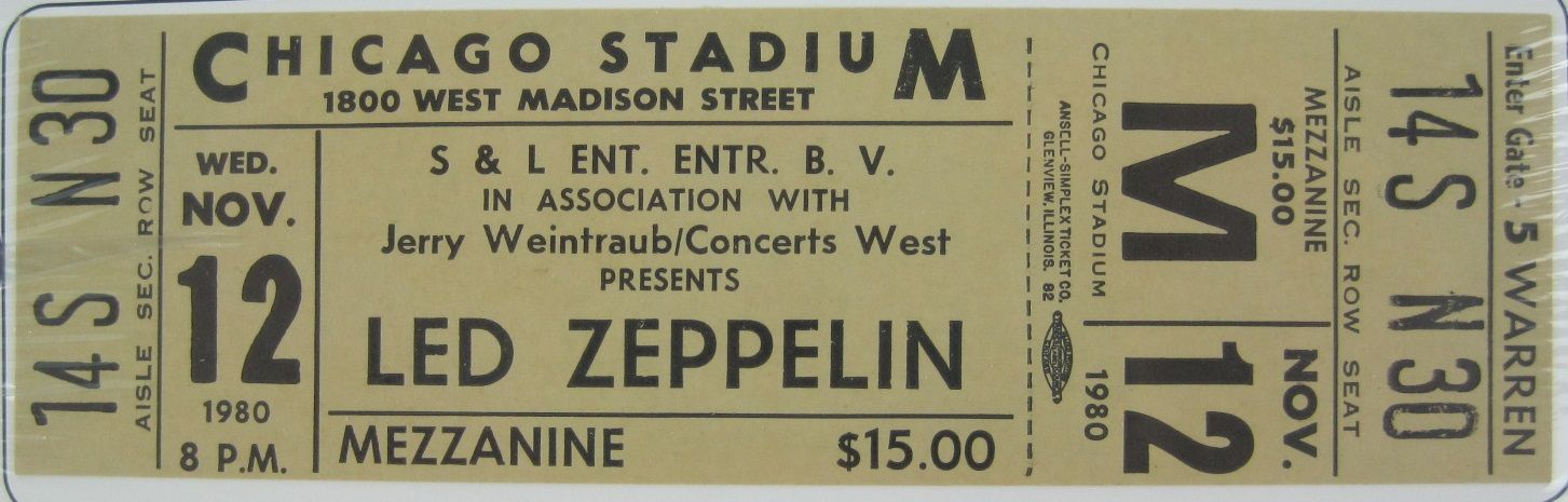 lot detail led zeppelin 1980 mint unused concert ticket. Black Bedroom Furniture Sets. Home Design Ideas
