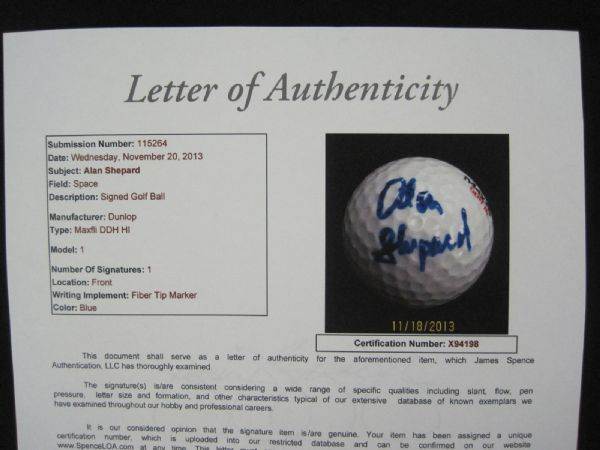 Alan Shepard 1st Astronaut In Space Rare Autographed Golf Ball JSA LOA