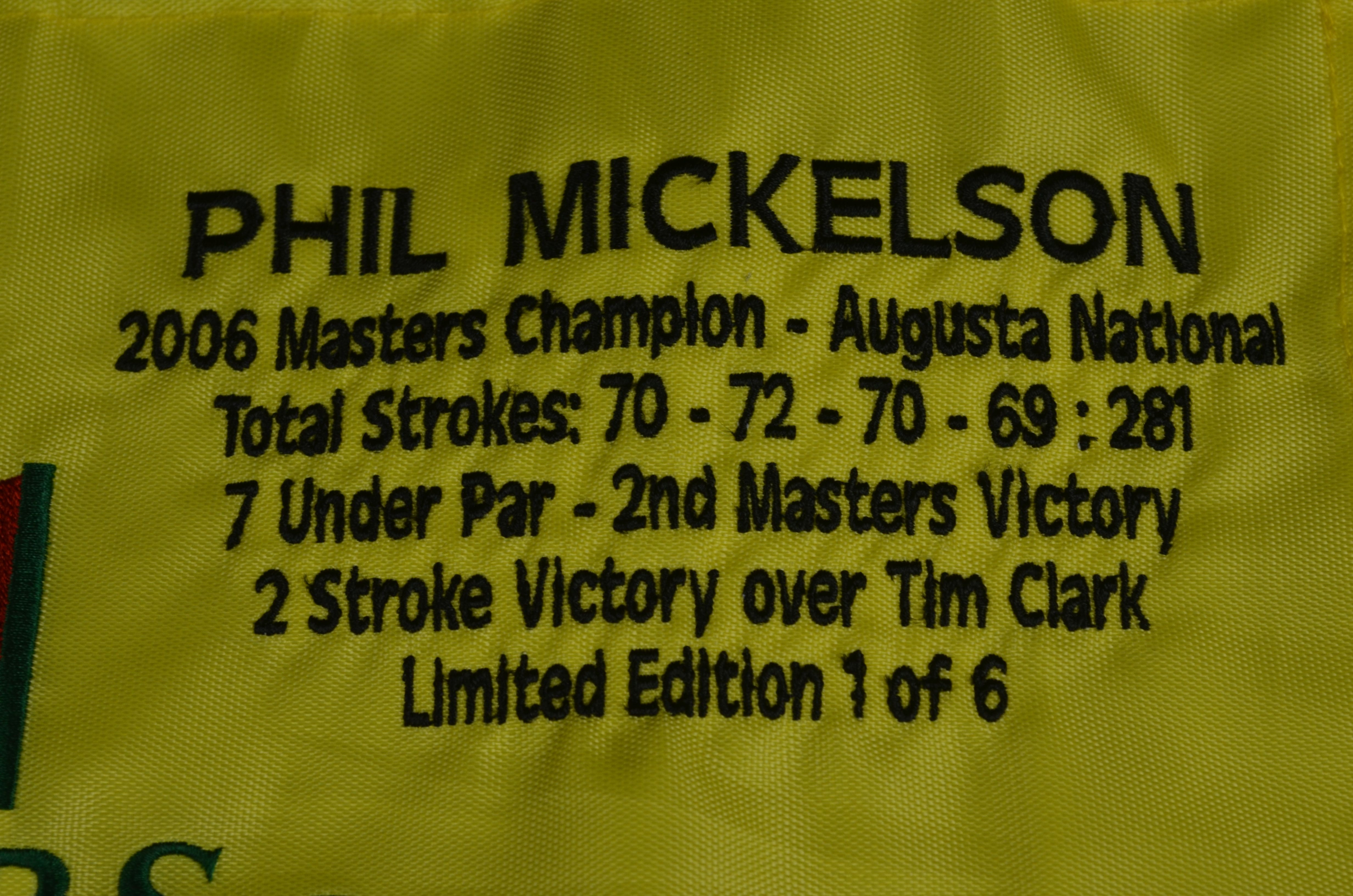 d23b81ca110 Lot Detail - Phil Mickelson Autographed 2006 Masters Flag