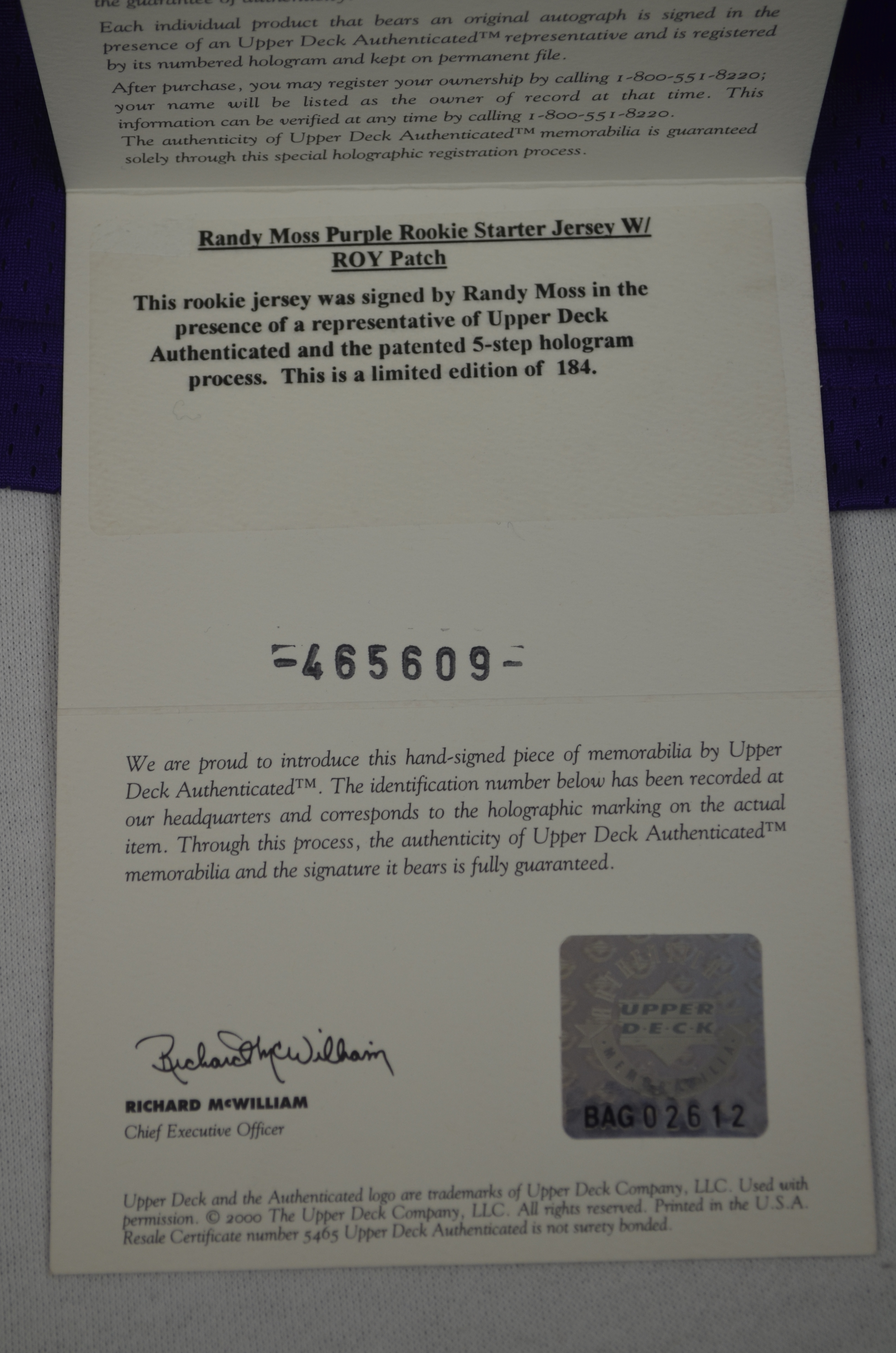 arrives fdd7b ee817 Lot Detail - Randy Moss 1998 Minnesota Vikings Autographed ...