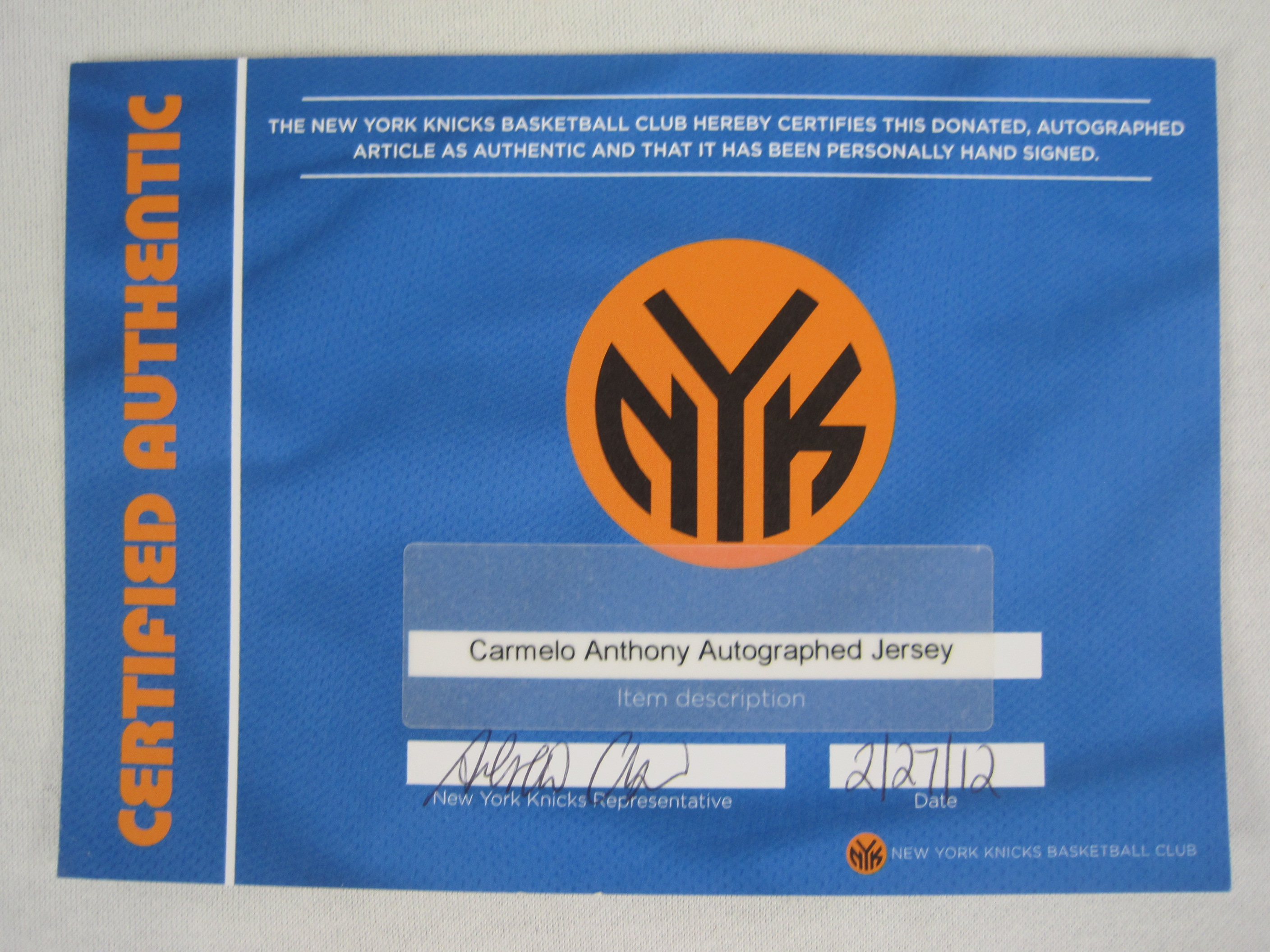 3a67aee14b2b ... discount carmelo anthony new york knicks autographed jersey cc283 b67a1