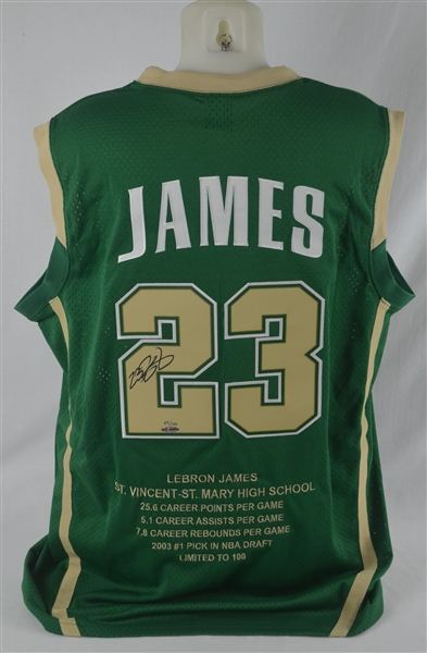 367dc217d ... usa lebron james autographed limited edition 2003 high school jersey  uda49 of 100 425f0 eb180