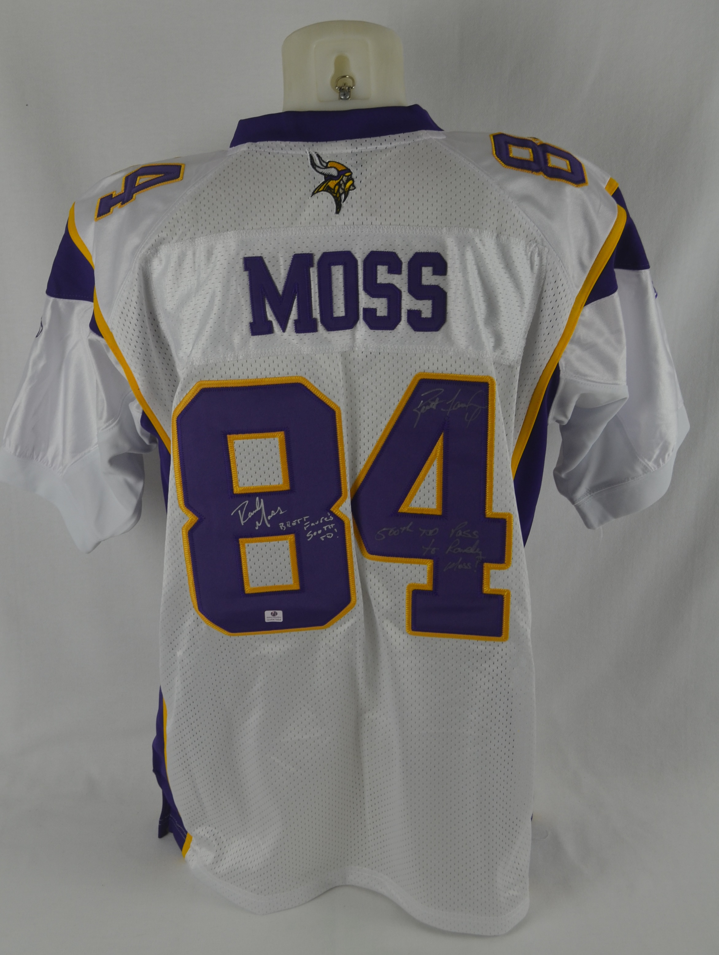amp; Favre Minnesota Randy Lot Moss Detail Vikings Dual Jersey Autographed Brett - Inscribed