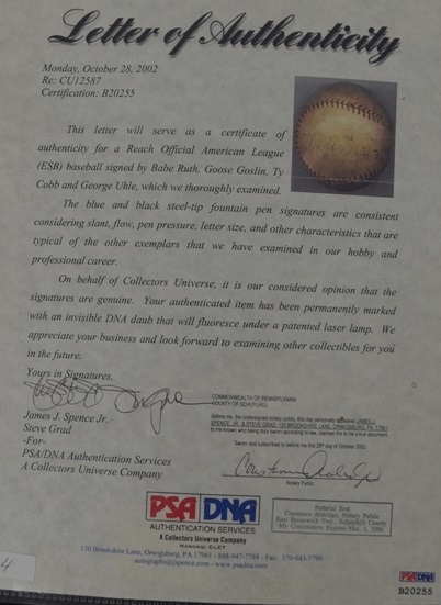 Babe Ruth & Ty Cobb c. 1927-1931 Autographed Baseball