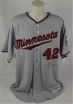 Joe Mauer 2011 Minnesota Twins Signed & Inscribed Jackie Robinson Day Jersey