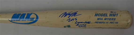 Will Myers 2013 Tampa Bay Rays Professional Model Rookie Bat w/Heavy Use