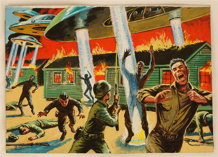 1962 Mars Attacks Original Artwork For Card #3 Attacking an Army Base
