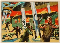 "1962 Mars Attacks Original Artwork For Card #3 ""Attacking an Army Base"""