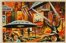 "1962 Mars Attacks Original Artwork For Card #8 ""Terror in Times Square"""