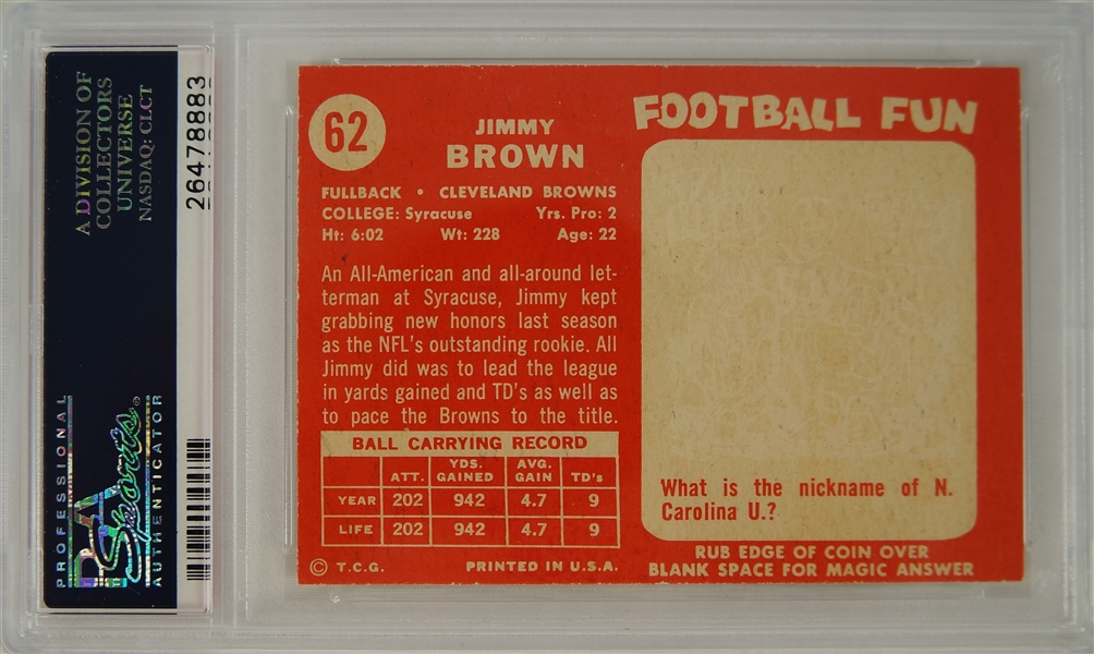Jim Brown 1958 Topps Cleveland Browns Rookie Card PSA 5