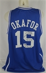 Jahlil Okafor Autographed & Inscribed Duke Blue Devils Basketball Jersey
