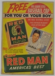 Vintage 1952 Red Man Tobacco Advertising Poster w/Ralph Kiner