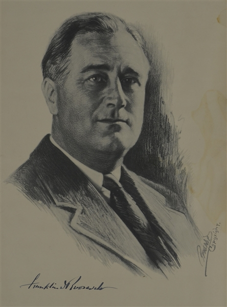 Franklin Roosevelt Autographed 1932 Presidential Campaign Poster