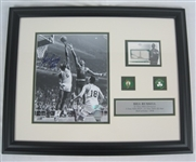 Bill Russell Autographed Framed Photo & Game Used Card Display