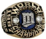 Jerry Bell 1987 Minnesota Twins 10k Gold World Series Ring w/Real Diamonds