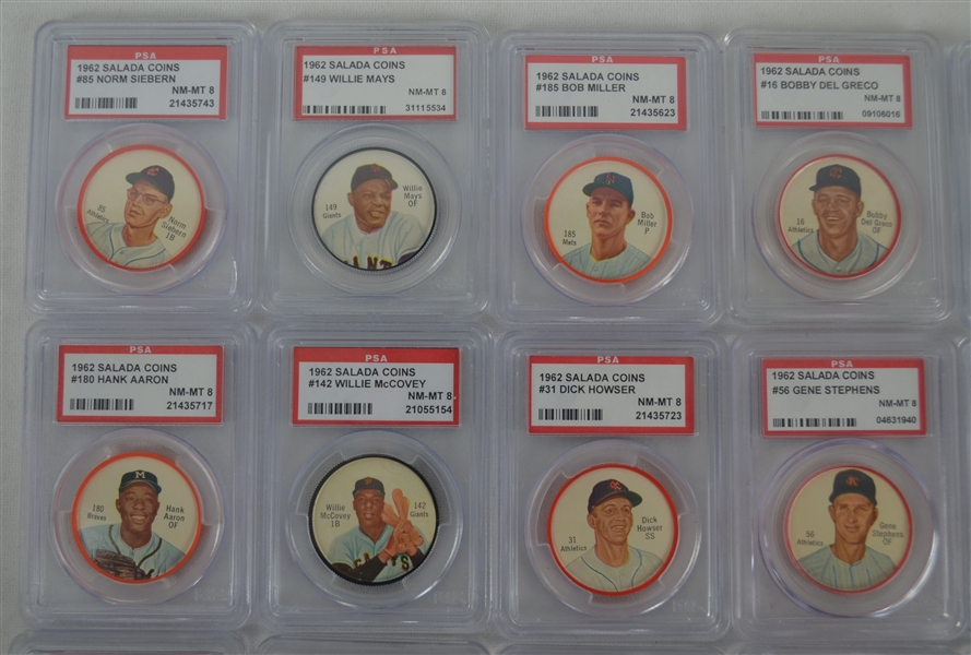 Collection of 47 Vintage 1962 Salada Baseball Coins Graded & Ungraded