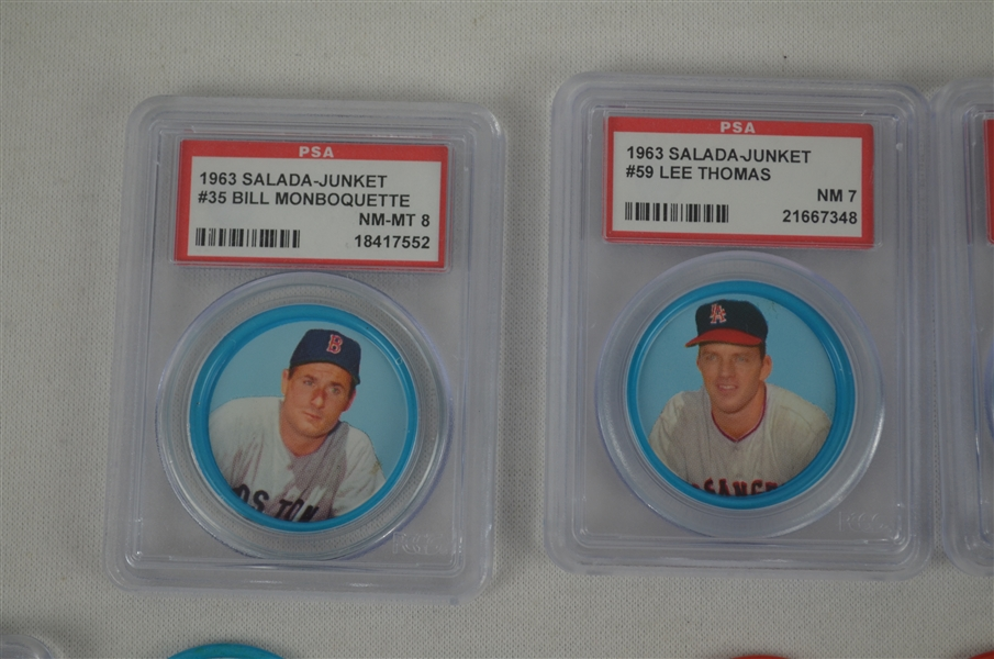 Collection of 28 Vintage 1963 Salada Baseball Coins Graded & Ungraded