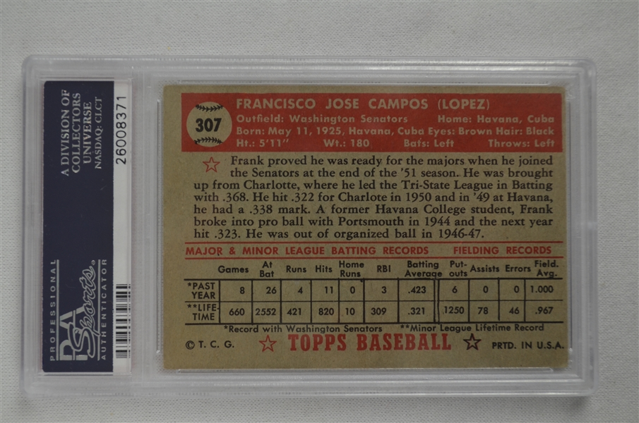 Rare 1952 Topps Frank Campos Black Star On Back #307 PSA 4.5 VG-EX+