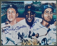 Mickey Mantle Willie Mays & Duke Snider Autographed 8x10 Photo