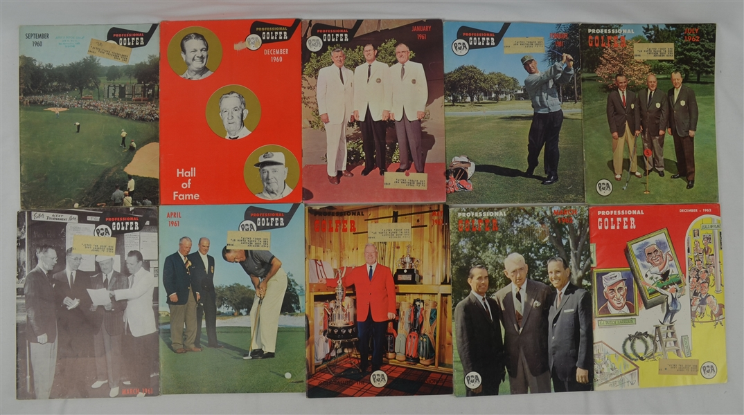 Professional Golfer 1960-1962 Collection of 10 Magazines