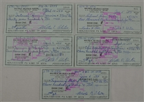 Walt Alston Collection of 5 Signed Checks w/Family LOA