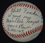 Bill Fischer Mickey Mantle Longest Home Run Inscribed Baseball & 1963 Topps Reprint