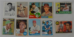Vintage Collection of 10 Autographed Baseball Cards w/George Kell