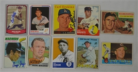 Vintage Collection of 10 Autographed Baseball Cards w/Bob Feller