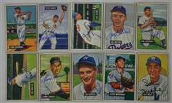 Vintage Collection of 10 Autographed 1951 Bowman Baseball Cards