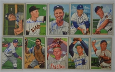 Vintage Collection of 10 Autographed 1952 Bowman Baseball Cards