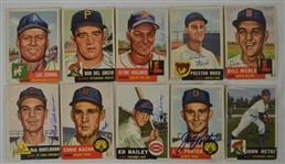Vintage Collection of 10 Autographed 1953 Topps Baseball Cards