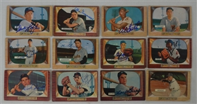 Vintage Collection of 12 Autographed 1955 Bowman Baseball Cards