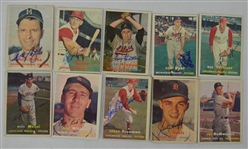 Vintage Collection of 10 Autographed 1957 Topps Baseball Cards