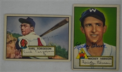 Mickey Vernon & Earl Torgeson Autographed 1952 Topps Baseball Cards