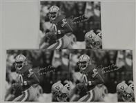 Jerry Rice Lot of 3 Autographed & Inscribed 8x10 Photos