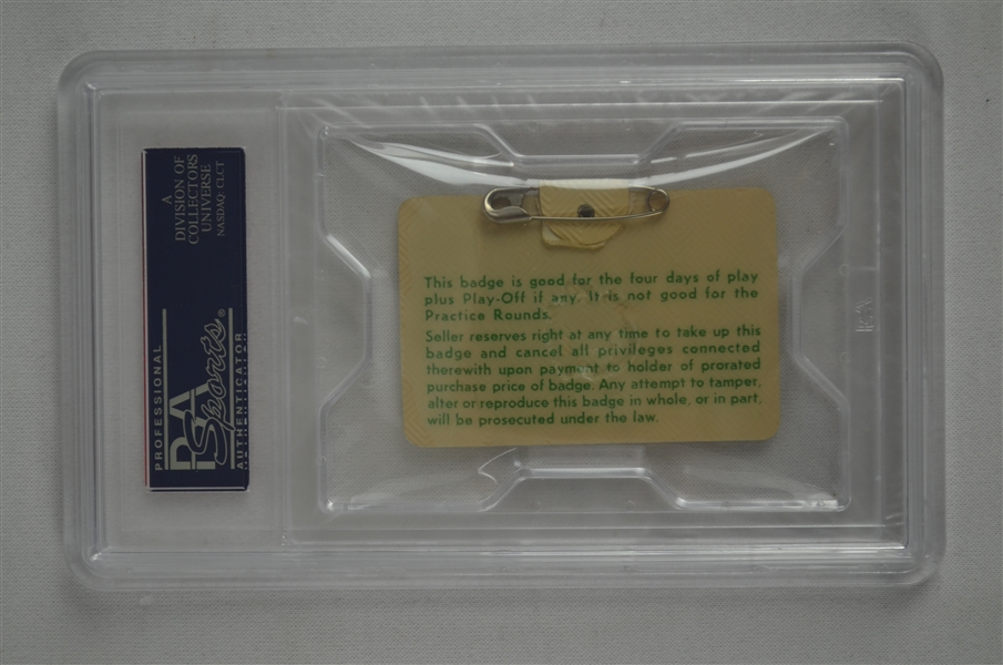 Gay Brewer 1967 Masters Badge w/ PSA Authentication