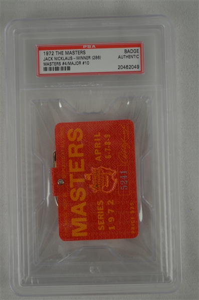 Jack Nicklaus 1972 Masters Badge w/ PSA Authentication