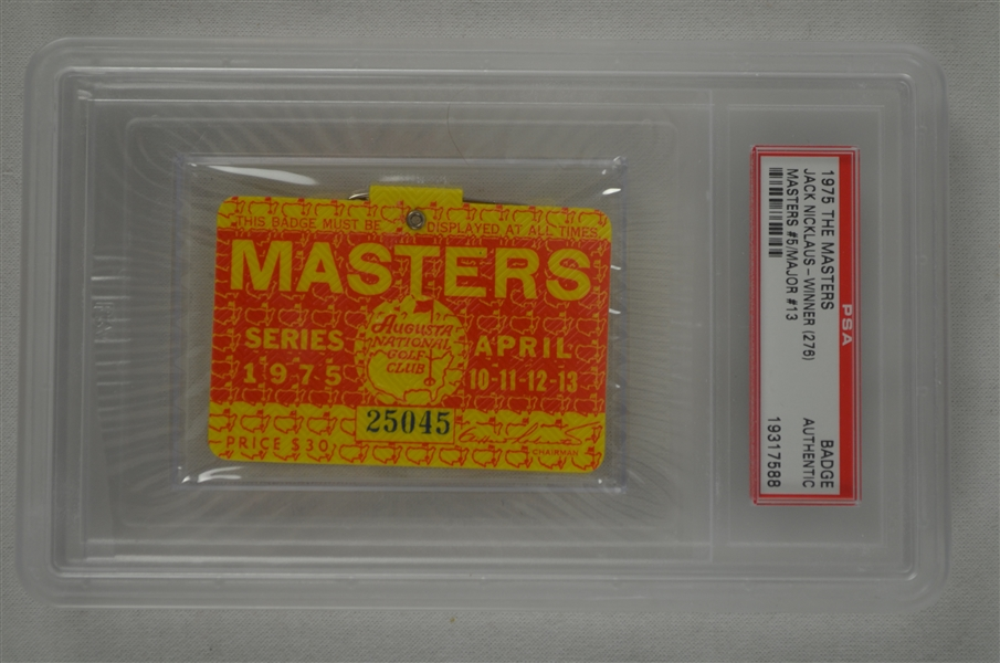 Jack Nicklaus 1975 Masters Badge w/ PSA Authentication
