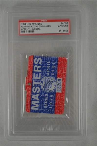 Ray Floyd 1976 Masters Badge w/ PSA Authentication