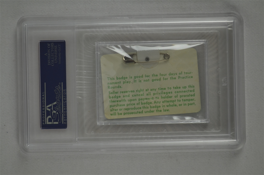 Gary Player 1978 Masters Badge w/ PSA Authentication