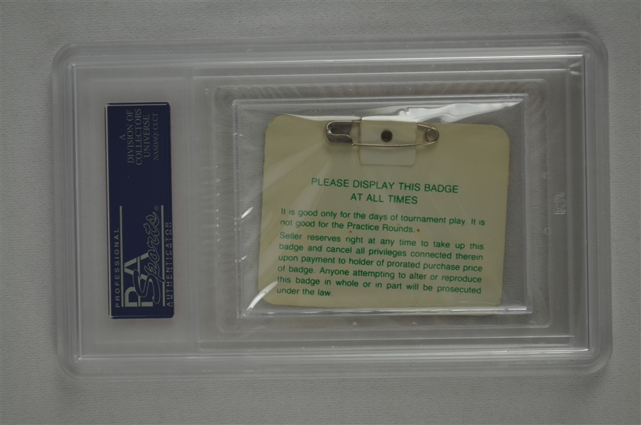Bernhard Langer 1985 Masters Badge w/ PSA Authentication