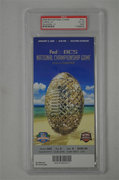 BCS National Championship Bowl Game 2009 Full PSA Graded Ticket Florida vs Oklahoma