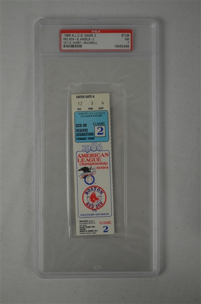 ALCS 1986 Game 2 Full PSA Graded Ticket Boston vs California