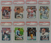 1989 Topps Football Collection of 8 PSA Graded Cards w/Barry Sanders