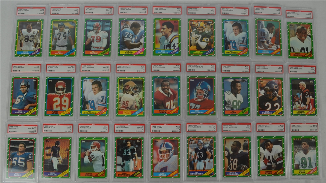 1986 Topps Football Collection of 27 PSA Graded Cards