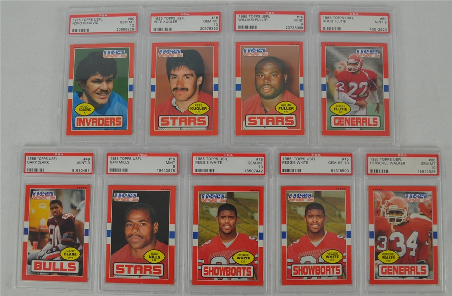 1985 Topps USFL Football Collection of 9 PSA Graded Cards w/Flutie & Walker Rookies